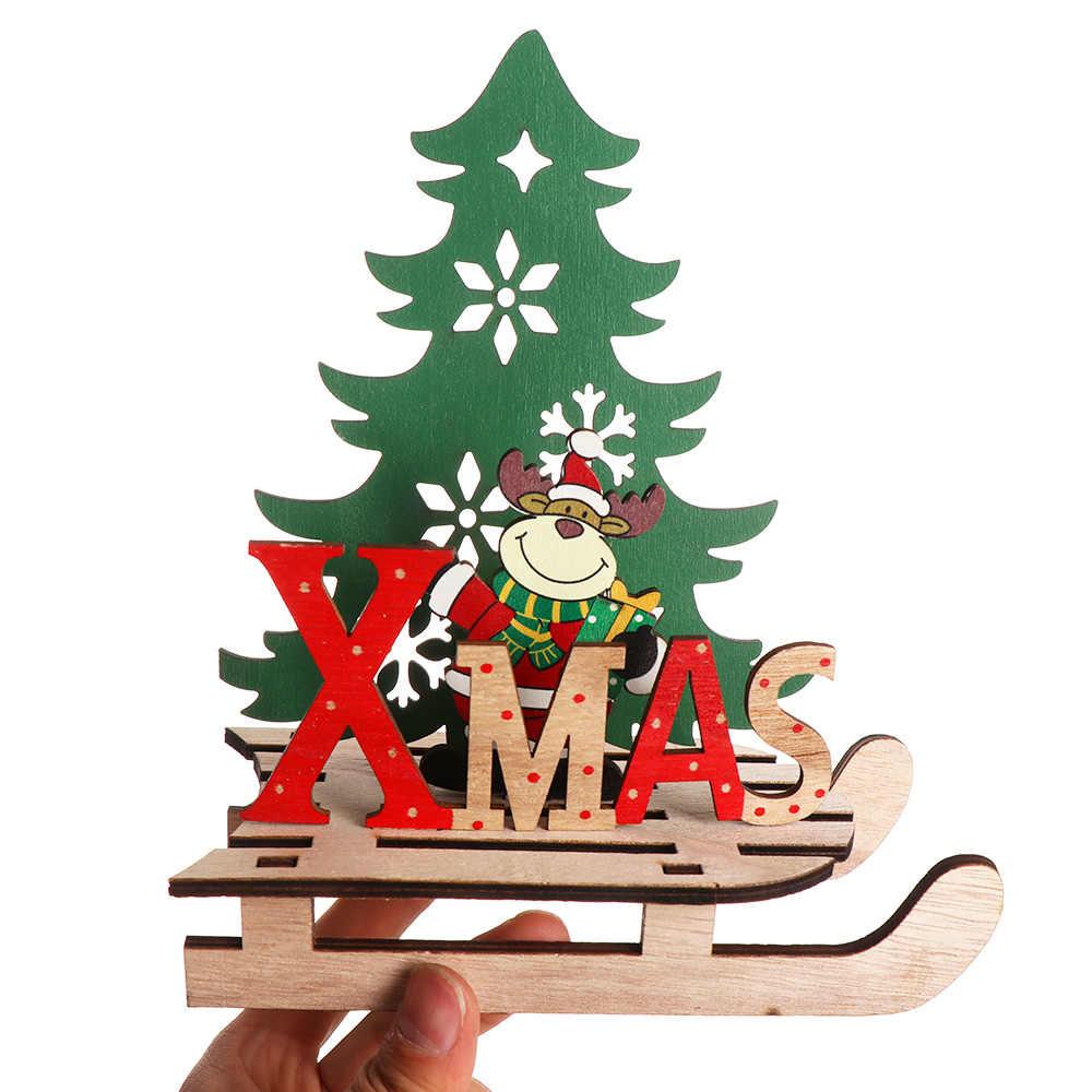 2020 Novos Enfeites de Árvore de Natal Caçoa o Presente para o Natal de Papai Noel/Boneco de Neve Decorações Do Partido De Madeira Artesanato DIY Para A Decoração Da Casa suprimentos