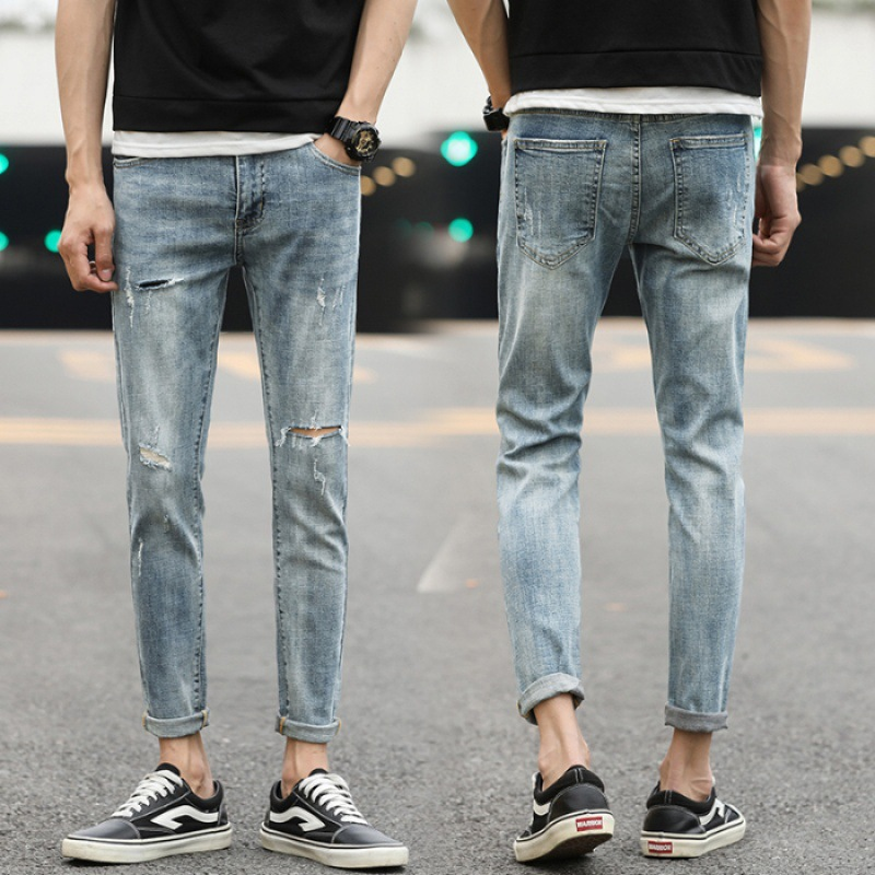 Spring And Summer New Style Jeans MEN'S Light Blue Capri Pants Teenager Students Trend Popular Brand Pants