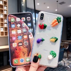 Image 4 - Bonito 3d legumes luminosa caixa do telefone para iphone xr caso x xs max 6s 6 7 8 plus cenoura transparente glitter estrela macio tpu capa