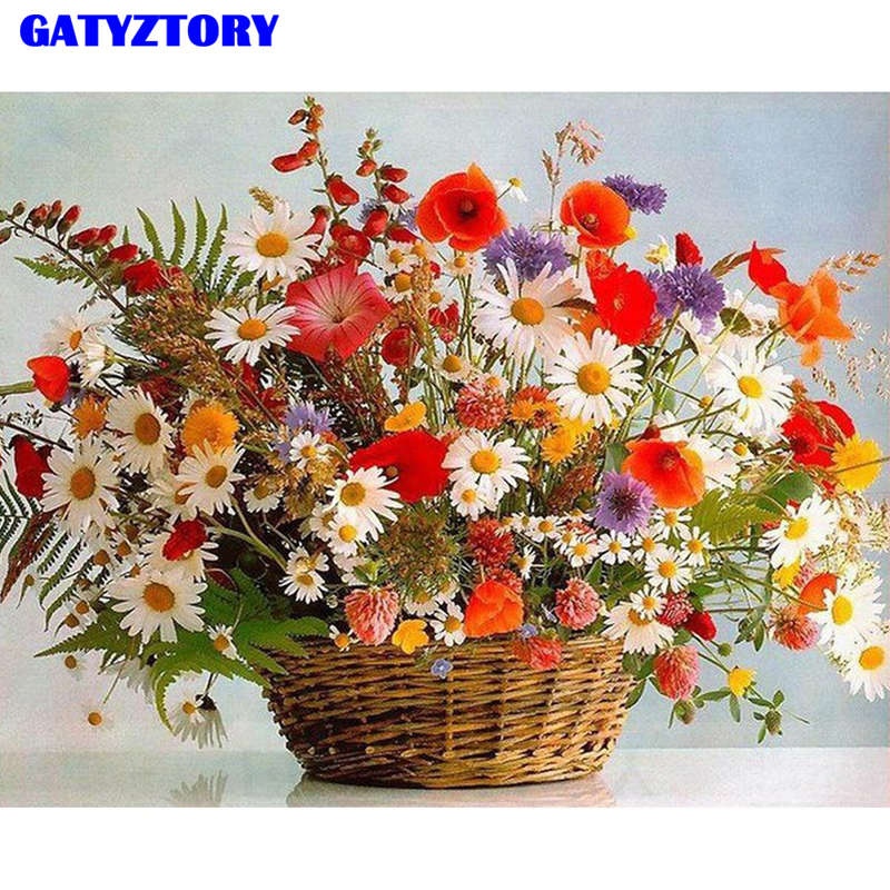 GATYZTORY Framed DIY Painting By Numbers Flowers Kit Canvas Picture By Numbers Acrylic Paint Home Decor Wall Art Picture 60x75cm