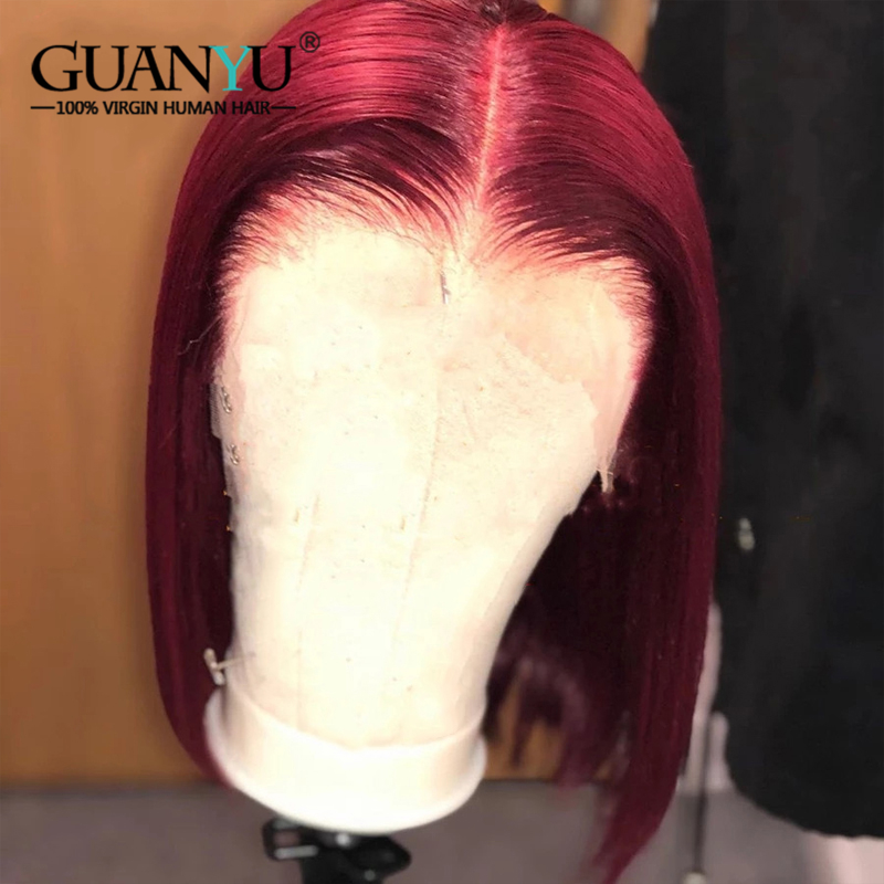 Burgundy 99J Short Bob Lace Front Wig Human Hair Pre Plucked Brazilian Remy Straight Colored Red Wig With Baby Hair