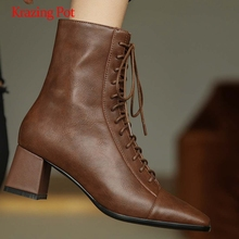 Work-Boots High-Heel Zipper Thick Lady Ankle L10 Krazing-Pot Superstar Square Toe Office
