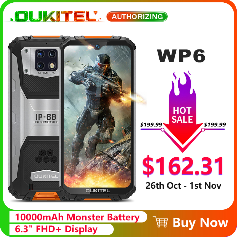 OUKITEL WP6 10000mAh 6.3 FHD + IP68 Wasserdichte Handy 4GB 128GB Octa Core 16MP Triple kameras Robuste Smartphone