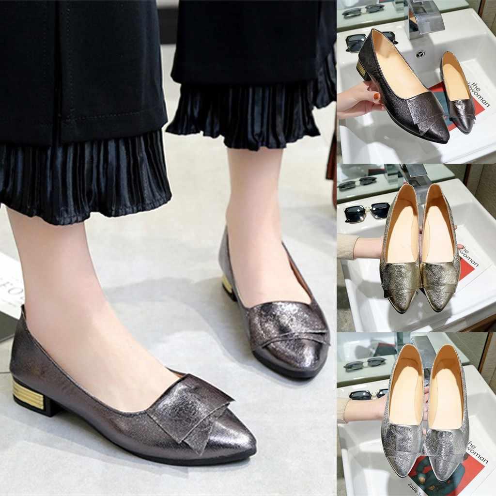 Femmes mode dames élégantes chaussures plates simples pointues peu profondes argent chaussures plates mocassins confortables femme travail sans lacet chaussures