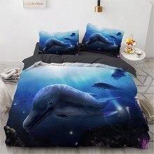 3D Bedding Sets Sea Dolphin Blue Duvet Quilt Cover Set Comforter Bed Linen Pillowcase King Queen