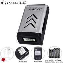 PALO 4 slots usb Smart Battery Charger for 1.2v AA / AAA NiCd NiMh Rechargeable Battery цена 2017
