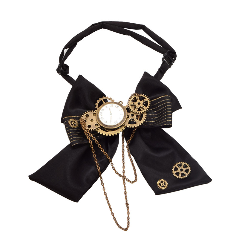 Black Steampunk Bow Tie Vintage Victorian Men's Punk Gear Cravat