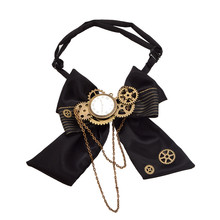 Siyah Steampunk papyon Vintage viktorya erkek Punk dişli kravat