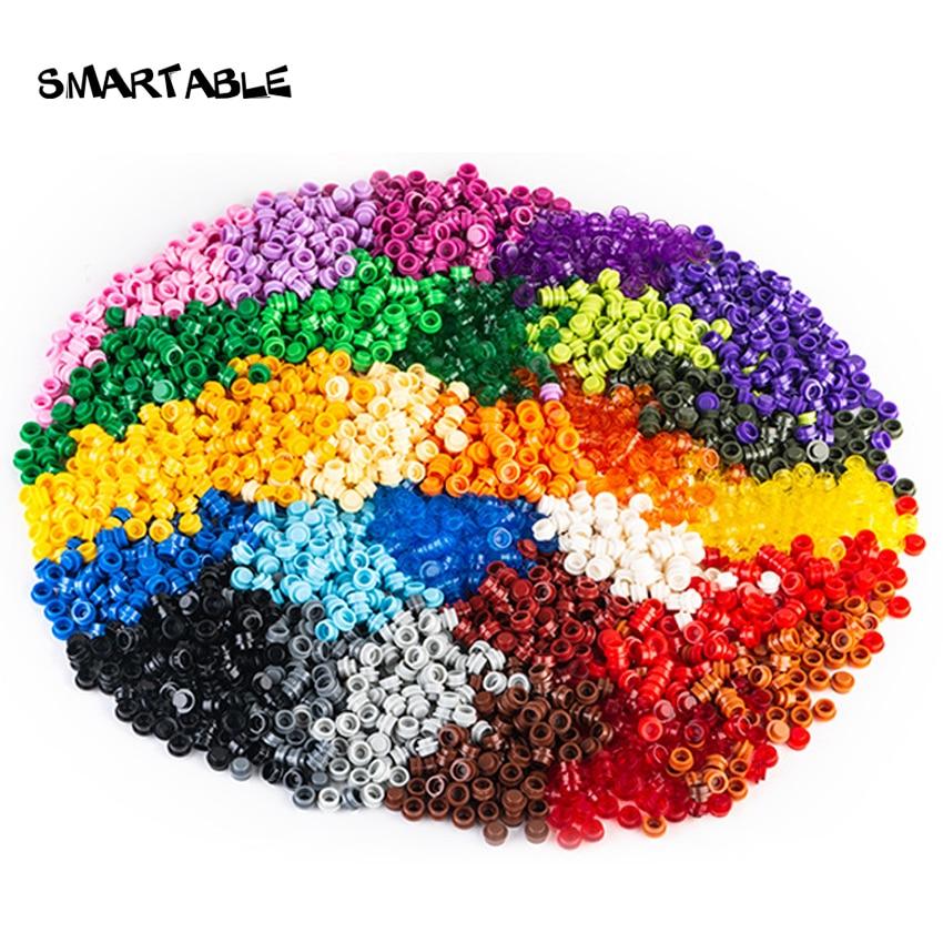 Smartable Plate 1x1 круглый 28 различных цветов строительные блоки части игрушки для пиксельного искусства Портретные огни совместимы 6141 950 шт./лот
