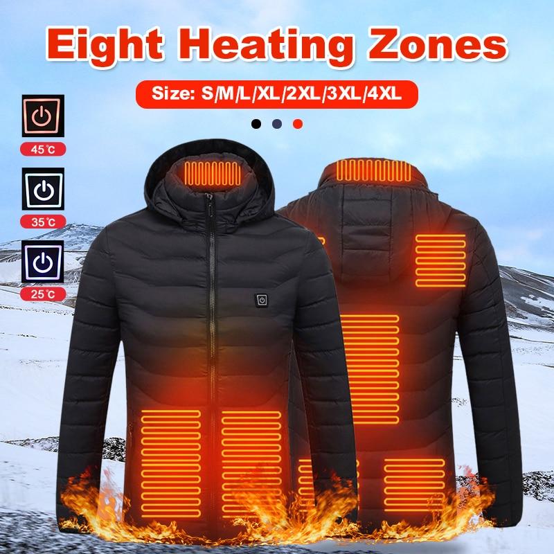 Куртки с длинным рукавом и подогревом, верхняя одежда, жилет, пальто, USB Электрический аккумулятор, куртки с капюшоном, теплая зимняя теплая ...