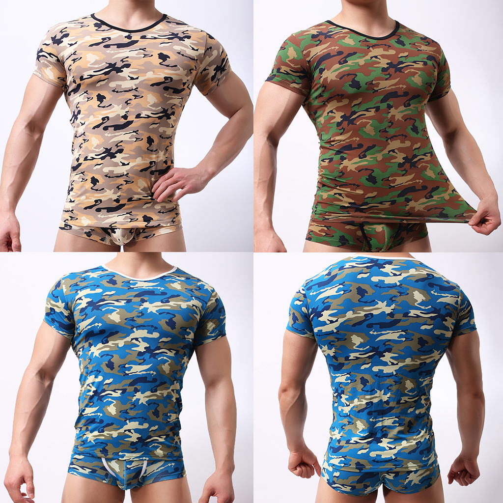 Men Camo T-Shirt Stretchy Tshirt Camouflage Sport Tee Shirt S-XL