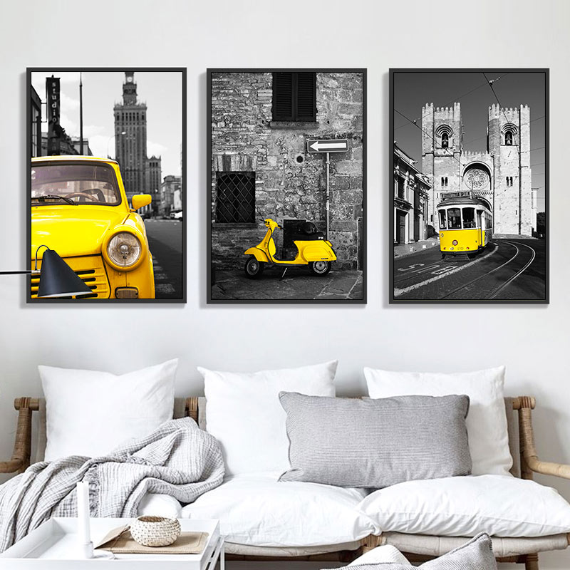 TAAWAA Poster Wall Architectural Painting Black Car Canvas Home-Decoration Small Art-Print