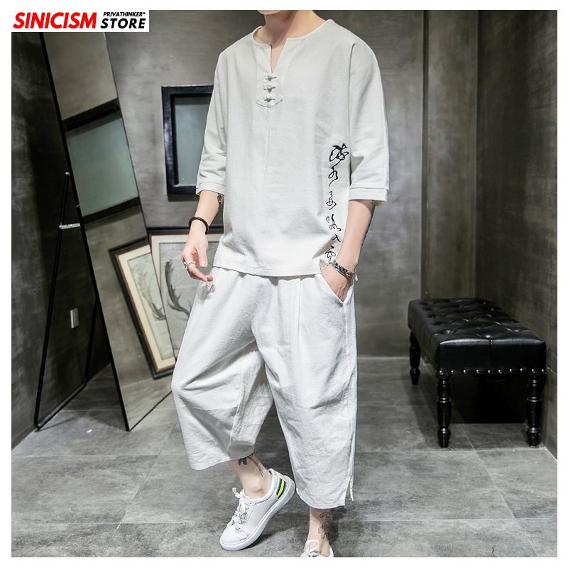 Sinicism Store Summer Loose Tracksuit Men 2020 Mens Casual Tshirt Suit Sets Male Fashion Chinese Style 2 Piece Sets Clothing 5XL