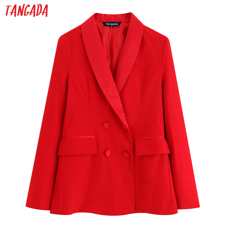 Tangada Fashion Woman Red Formal Blazer Long Sleeve Pocket Female Work Suit Coat Female Retro Outerwear Elegant Tops BE07
