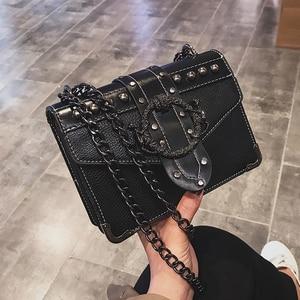 Image 3 - European Fashion Female Square Bag 2020 New Quality PU Leather Womens Designer Handbag Rivet Lock Chain Shoulder Messenger Bags