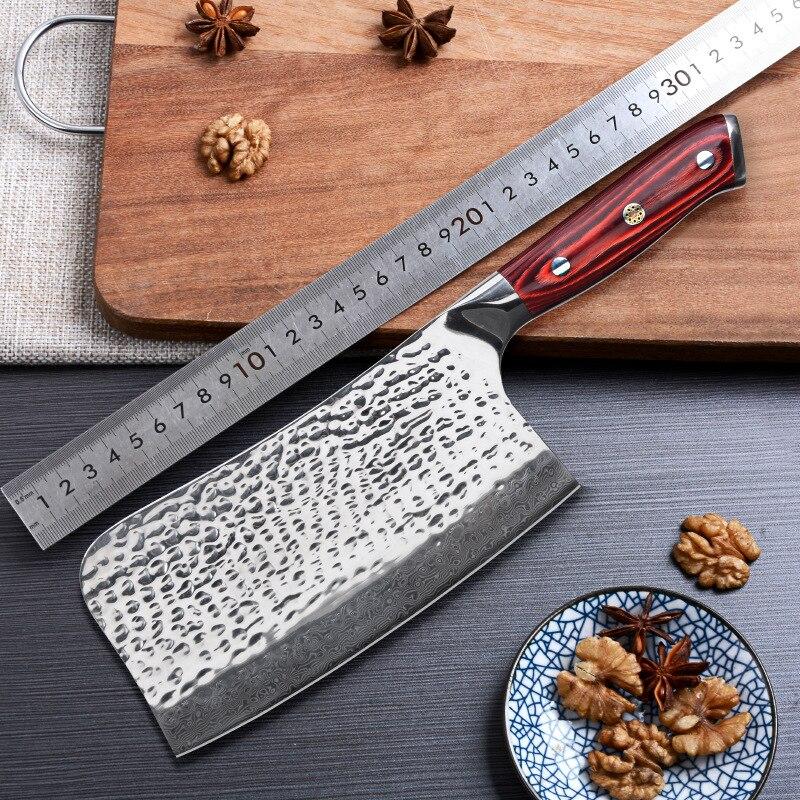 Timhome 7 дюймов 67 слоев дамасский нож шеф-повара нож мясника Кливер Чоппер Дамасская сталь кухонный нож с красной ручкой