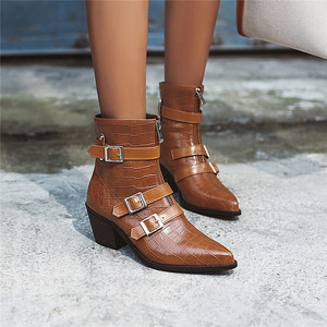 Image 2 - YMECHIC Plus Size Occident Brown Buckle Front Zipper Block Heels Ankle Boots for Women Shoes Cowboy Western Boots Winter 2019