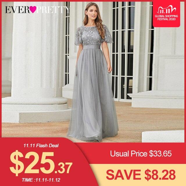 ローブ · ド · 夜会スパークドレスロング今までかなりEP00904GY aラインoネック半袖フォーマルドレス女性のエレガントなドレス