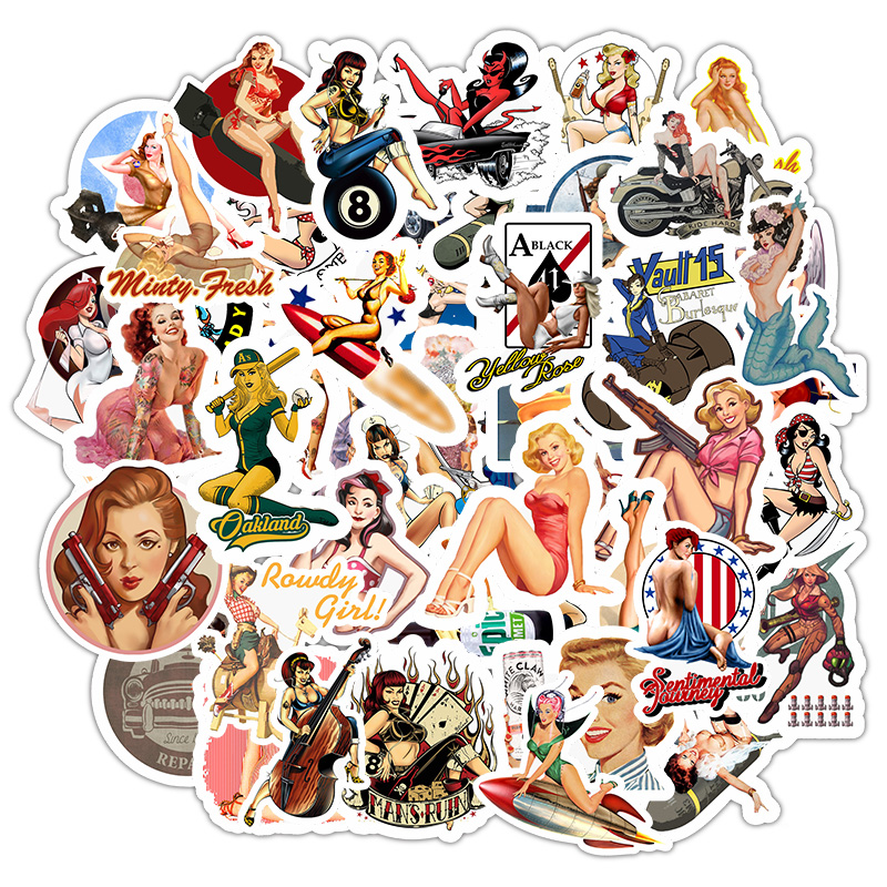 49Pcs Retro Sexy Beauty Girls Stickers For Laptop Car Scrapbooking Phone Motorcycle Luggage Decal Toys For Children PVC Gift F5