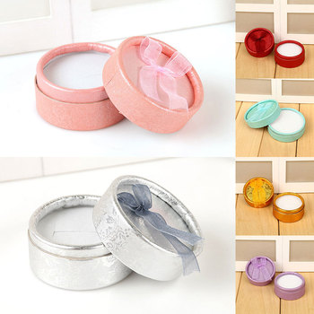 New Elegant Round Earring Rings Box Bowknot Jewelry Organizer Box Holder Wedding Engagement Gift Packaging Box Jewelry Display peace dove jewelry box gift box peace bird girls gift box packaging organizer earring holder