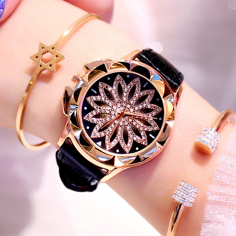 Quartz Watches Bracelet Flower-Clock Rhinestone Crystal Diamond Fashion Women 1pcs Big-Dial title=