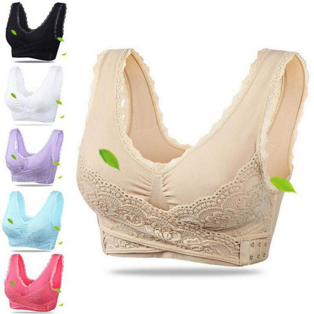 Sports <font><b>Bra</b></font> <font><b>Sexy</b></font> Lingerie Lace Solid Color Cross Side Buckle Without Rims Gathered Sports Women Underwear Sleep <font><b>Bra</b></font> image