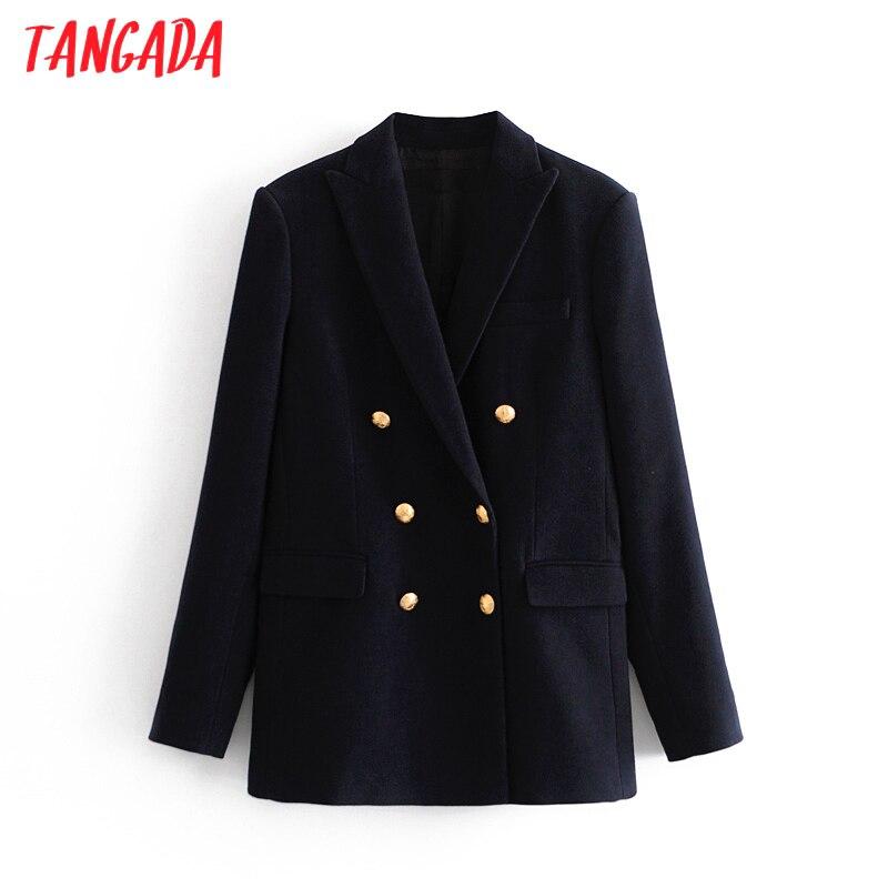 Tangada-Chaqueta de lana azul marino para mujer, abrigo Vintage de manga larga con doble botonadura, prendas de vestir exteriores para mujer, Tops Chic 3H718, 2020