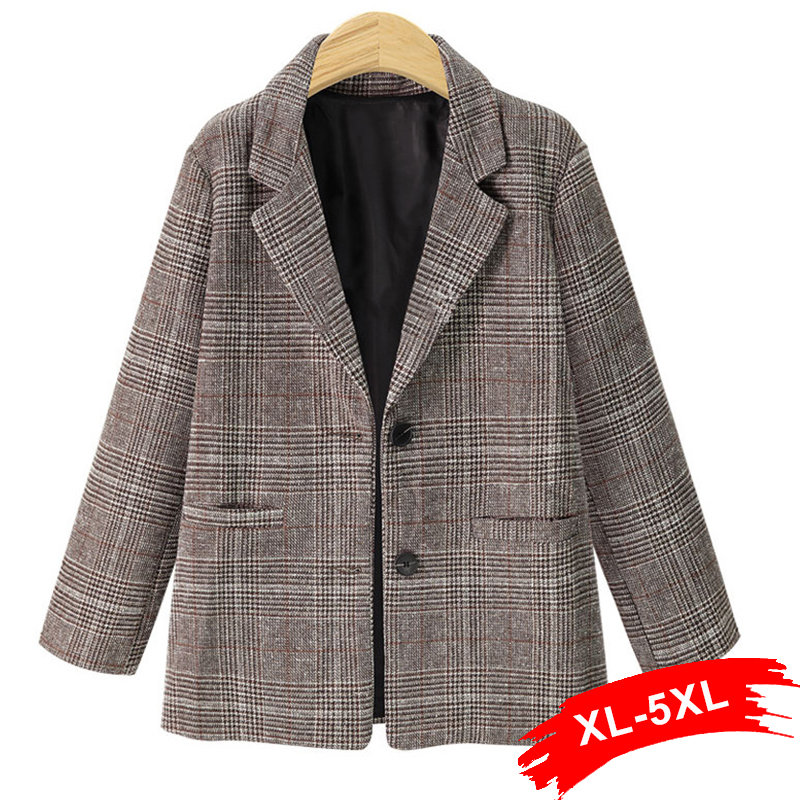 Women Plus Size Vintage Retro Notched Collar Blazer Pockets 3XL 4XL Autumn Single Breasted Outwear Europe Style Tops Outwear