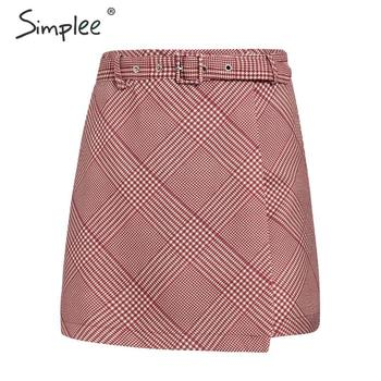 Simplee A-line red plaid women short mini skirt Autumn winter casual high street female short skirt Fashion party ladies skirt