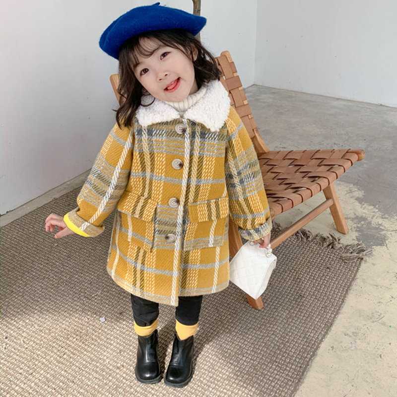 Mihkalev Pattern Plaid Kids Wool Coat For Children Winter Jackets And Coats Long-length Litter Girls Thicken Overcoat Snowsuit