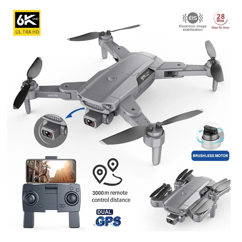 Profession Pro GPS Drone 6K Dual HD Camera Drone WIFI FPV Aerial Photography Brushless Motor Foldable Quadcopter RC Distance