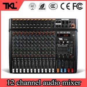 Tkl t12 estágio profissional 12 canais de áudio dj mixer bluetooth som mixer áudio karaoke phantom power 48v usb jack
