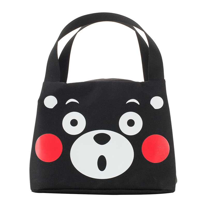 Japan Kumamoto Bear Black And White With Pattern Canvas Hand Lunch Box Bag Travel Insulated Cold Insulation Freshness Lunch Bag