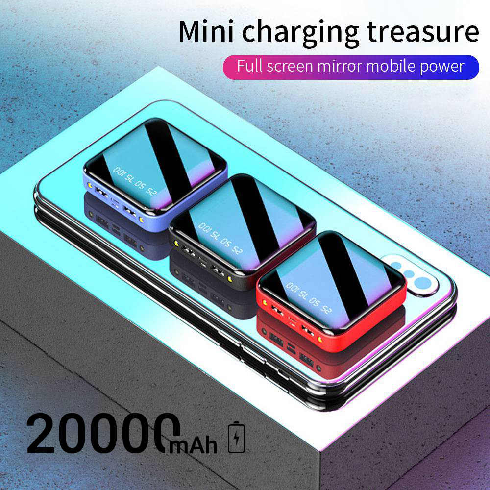 Power Bank 20000 MAh Portable Pengisian Poverbank Ponsel LED Belakang Cermin Power Bank External Battery Pack Powerbank