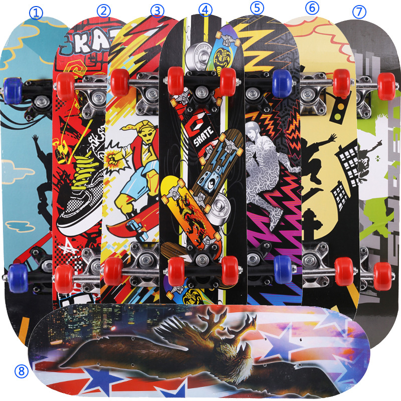 Children Four Wheel Skateboard Sports Small Sliding Plate Panel 60*15 Cm Primary Skateboard PVC Wheel Toy Skateboard Wholesale