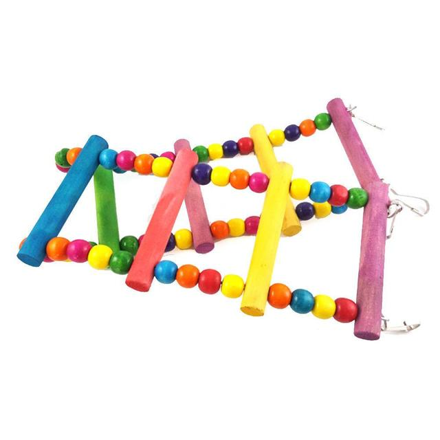 Colorful Parrot Ladder Wood Toys with Hanging Rope Parrot  6