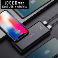 Banco de potência 10000mah qi carregamento sem fio bateria externa carregador portátil rápido powerbank para iphone xiaomi poverbank