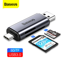 Baseus 2 In 1 Kaartlezer Usb 3.0 Type C Naar Sd Micro Sd Tf Adapter Voor Pc Laptop Otg cardreader Smart Memory Microsd Kaartlezer(China)