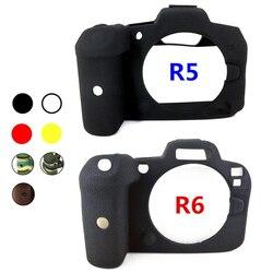 Резиновый силиконовый чехол для корпуса защитная рамка для беззеркальной камеры Canon EOS R5 R6 EOSR5 EOSR6