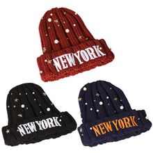 Women Men Winter Chunky Ribbed Knit Cuffed Hat Imitation Pearl Star Studded New York Letter Embroidery Beanie Cap Party Headwear