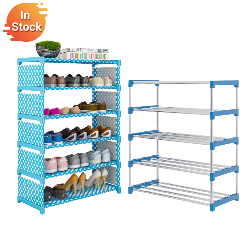 Multi Layer Simple Shoe Rack Every Tier 4 Steel Tube Holder Dustproof Cabinet Furniture Space-saving Shoe Organizer Shelf