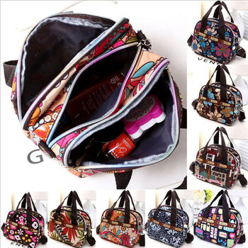 Women Portable Canvas Large Cosmetic Bags Makeup Organizer Print Zipper Bag Female Cell Phone Toiletry Beauty Handbags