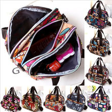 Women Portable Canvas Large Cosmetic Bags Makeup Organizer P