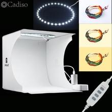 Cadiso Mini Phòng Thu Bảng LED Chụp Ảnh Trắng Mềm Mại Hộp Nhẫn Ánh Sáng Gấp Di Động Lightbox Chụp Bộ Dụng Cụ Lều chụp ảnh