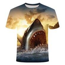 T-Shirt imprimé requin en 3D pour hommes, Streetwear, créatif, estival, court, vacances, pêche, 2021