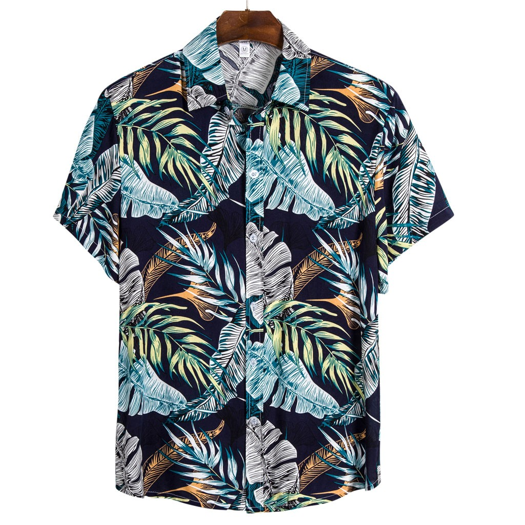 The Most Handsome Shirt! Mens Ethnic Short Sleeve Casual  Printing Hawaiian Shirt Blouse  рубашка Purchasing Wholesaler Summer