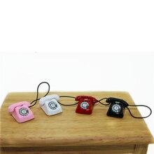 Мини домашний проводной телефон кукольный домик Миниатюрная игрушка украшение подарок малыш 1/12 кукольный домик Миниатюрный металлический телефон ролевые игры Кукла