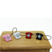 mini Home wired telephone Dollhouse Miniature Toy  Decoration Gift Kid 1/12 Dollhouse Miniature Metal Phone Pretend Play Doll