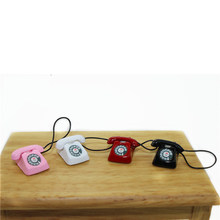 mini Home wired telephone Dollhouse Miniature Toy Decoration Gift Kid 1/12 Dollhouse Miniature Metal Phone Pretend Play Doll(China)