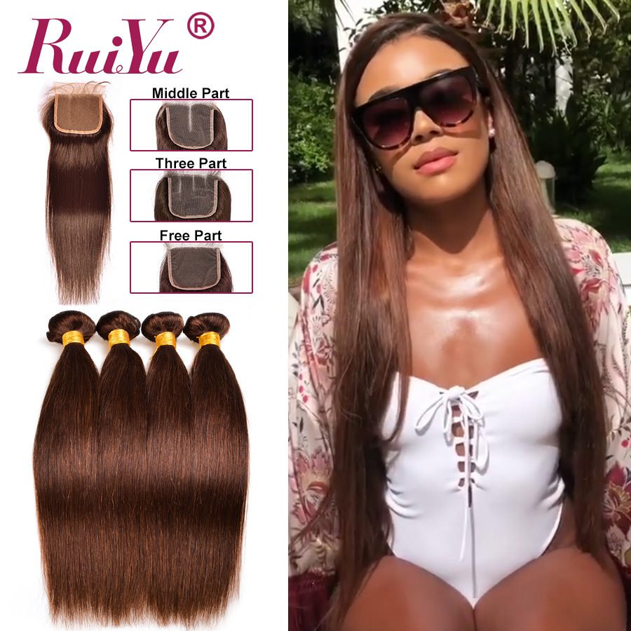 Hf75a18f56f544092bec66303ceb05dc5h Human Hair Brown Bundles With Closure Brazilian Straight Hair Weave Bundles With Closure Middle Ration 10- 26 Inch NonRemy RUIYU